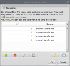 table with filenames